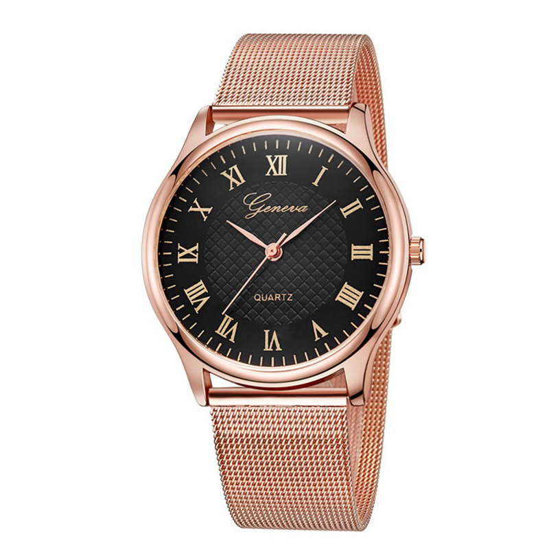 Geneva Luxury Stainless Steel Rose Gold Watches Women Fashion Clock Ladies Casual Wristwatch Female Dress Watch Reloj Mujer 2018 2016 new ladies fashion watches decorative grape no word design gold watch stainless steel women casual wrist watch fd0107