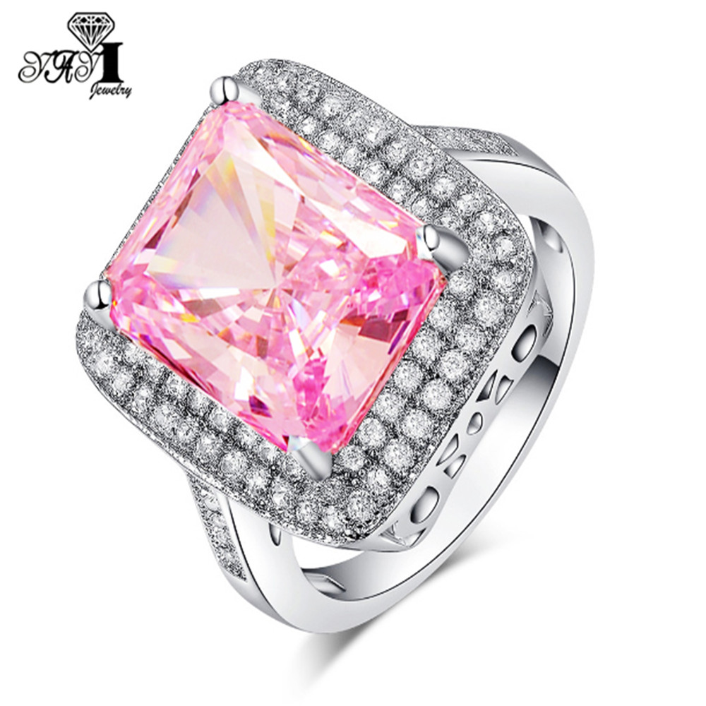 YaYI Fashion Women Jewelry Ring 5CT Pink Zircon CZ Silver Color ...