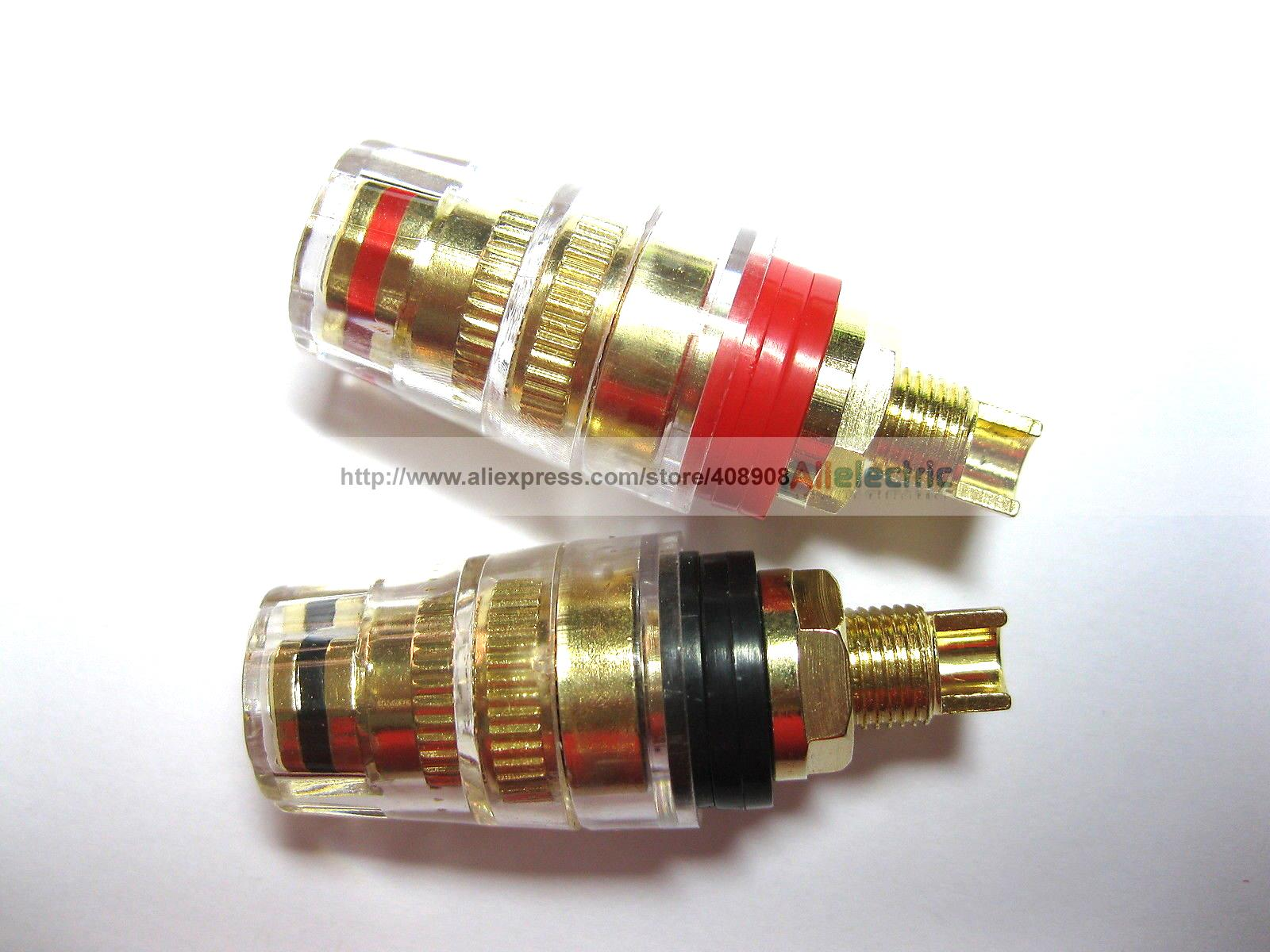 10 Pcs Audio Speaker Cable Binding Post Connector Gold Plated Solder Type M 46mm areyourshop hot sale 50 pcs musical audio speaker cable wire 4mm gold plated banana plug connector