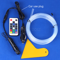 1m 2m 3m 4m 5m DC12V 2W RGB Side Glow Fiber Optic Light Kit For Car
