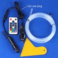 1m 2m 3m 4m 5m DC12V 2W RGB Side Glow Fiber Optic Light Kit For Car