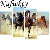 4pcs Set Diy Diamond Painting Horses Running Diamond Mosaic Wall Stickers Triptych Painting Square Drill Full
