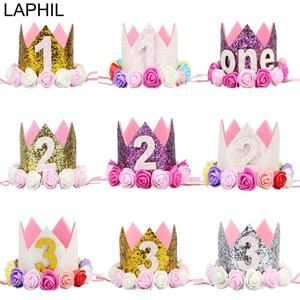 LAPHIL My First Birthday Party Hat Cap Gold Silver Flower Crown Happy 2nd Birthday Party Decorations Kids 3rd Party Supplies