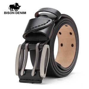 Image 2 - Bison denim novo cinto masculino de couro genuíno cintos vintage fivela cinto de couro para homens natal presente de ano novo n71247