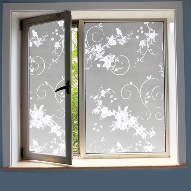 birds and flowers self adhesive film decorative window film vinyl stained glass window stickers for