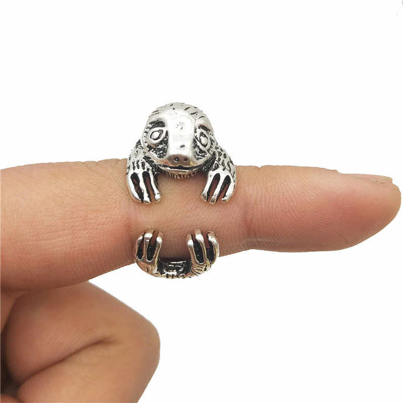 Trendy 3D animal open ring Vintage Bradypus ring cute retro Sloth Ring For Women Men gift Jewellery Christmas gift punk