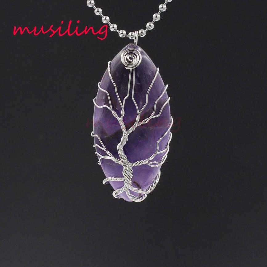 Argent plaqué cheval oeil arbre de vie pendentifs pendule pierre naturelle Reiki amulette pour femmes hommes mode bijoux 10 pièces