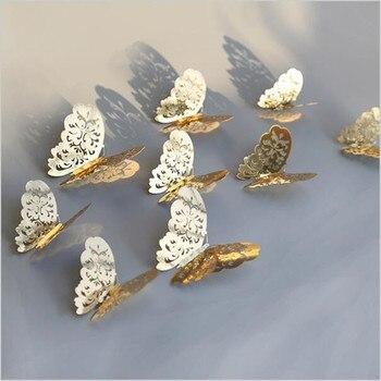 Naklejka ścienna 3D ażurowe motyle 12 sztuk