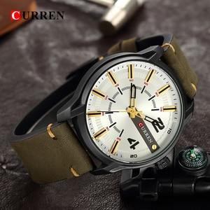 Image 5 - CURREN Мужские часы, люксовый бренд, военные спортивные часы, мужские кварцевые часы, мужские повседневные кожаные Наручные часы, мужские часы