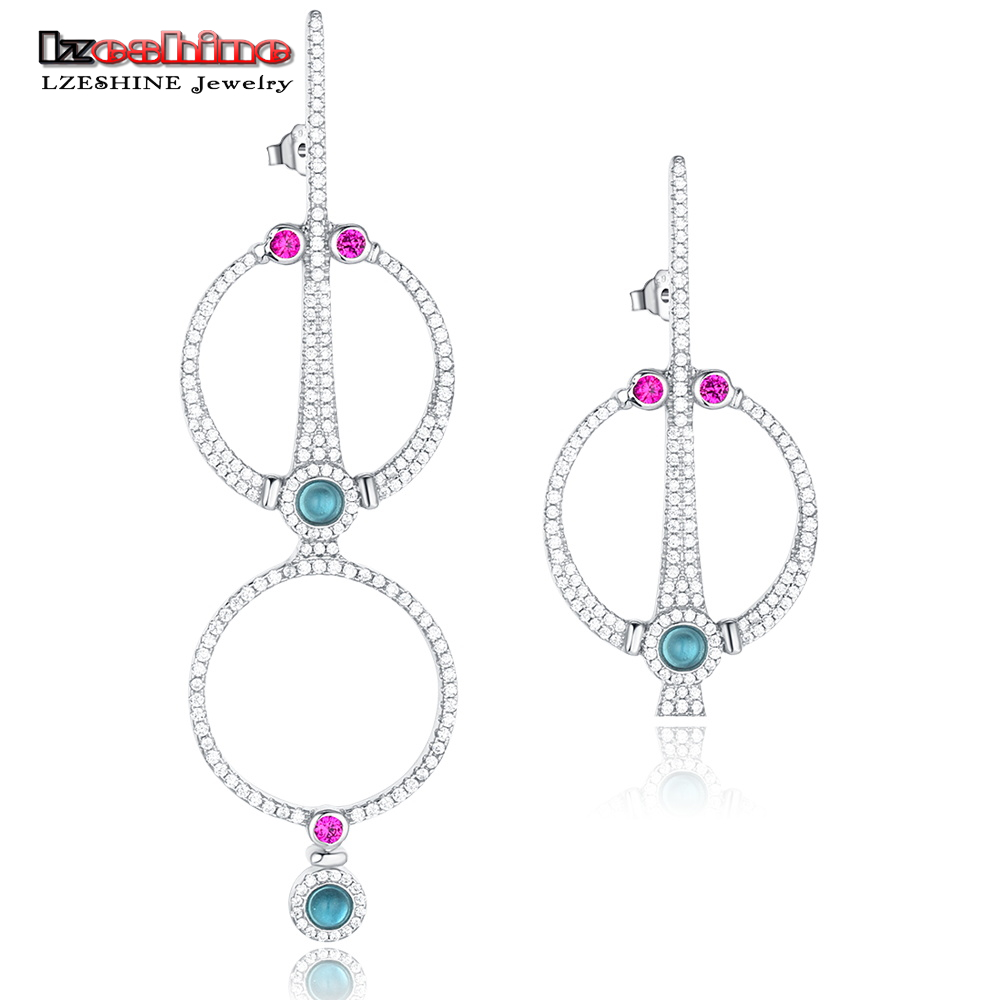 LZESHINE Hot 925 Sterling Silver Fashion Geometric Stud Earring Colorful AAA CZ And Round Circle For Women Best Jewery T020167-B все цены