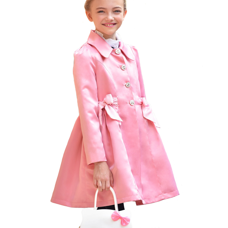 Autumn 2017 Girls Windbreaker Children Princess Coat Fille Long Retro Silm England Classic Clothes for 7y-14y new pure linen retro men s wing chun kung fu long robe long trench ip man robes windbreaker traditional chinese dust coat