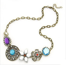 Luxury crystal necklace & pendant vintage Retro court necklace for women brand choker necklace fashion jewelry wholesale NJ-0113