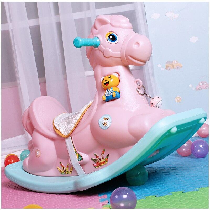 Mignon animaux en plastique à bascule cheval Musical à bascule poney Ride sur voitures rouleaux jouets éducatifs cadeau pour enfants bébé infantile enfants