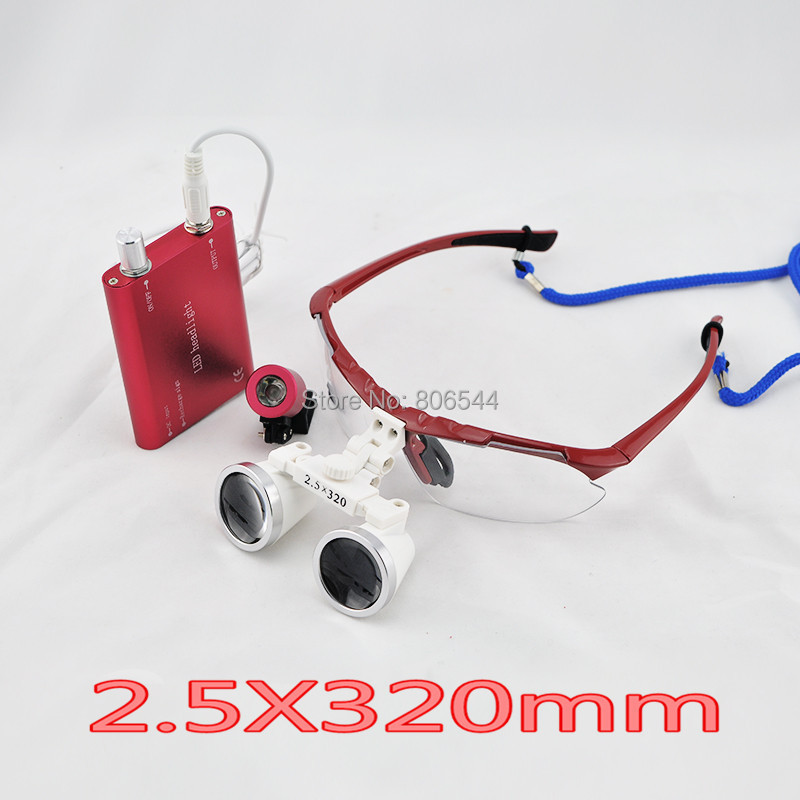 Hot selling Portable 2.5X320mm RED Dentist Dental Surgical Medical Binocular Loupes Optical Glass with LED Head Light Lamp RT-9