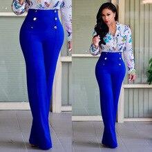 European Station Women Long Pants High Waist Pants Double Breasted Trousers loose Full Length Pants Temperament Elegant