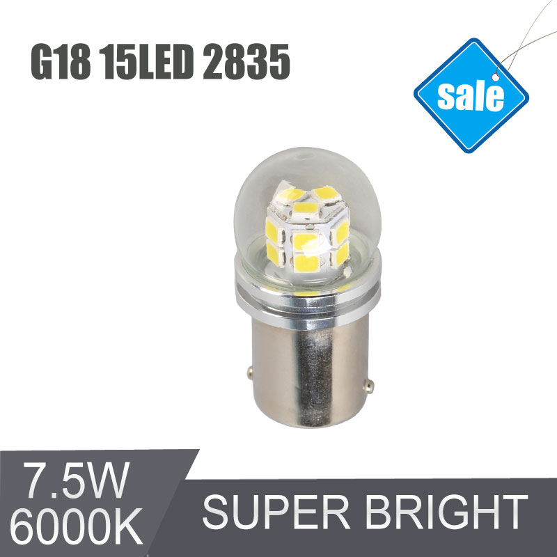 High Quality G18 BA15D 15SMD Automobiles LED Lamp Rear LightsTurn Signals Factory Sale Super Bright White Car Bulb 6000K 420LM