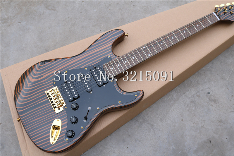 factory wholesale zebra wood body electric guitar with hsh pickups black pickguard gold. Black Bedroom Furniture Sets. Home Design Ideas