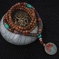 Moda evadir enamell collar étnico, árbol de la vida de la placa de la vendimia joyas de Nepal, hecha a mano sanwood bodhi cuentas de collar de la vendimia