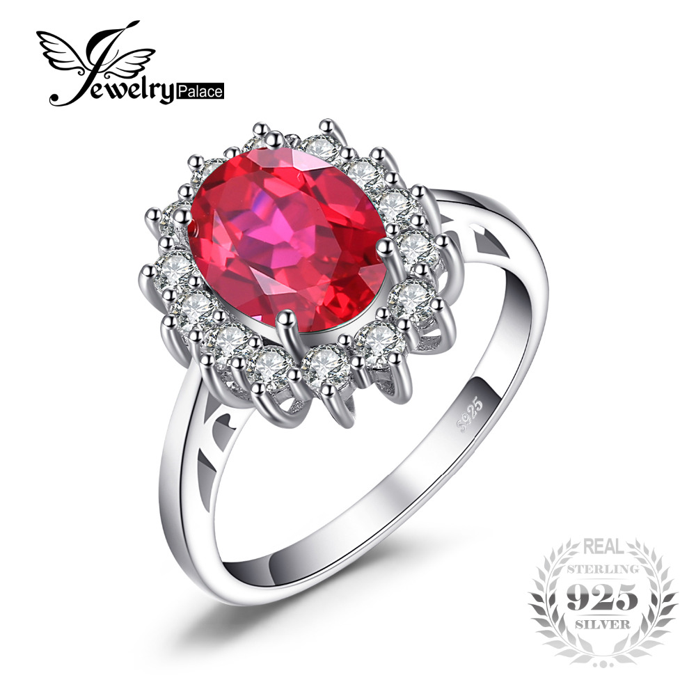 JewelryPalace Putri Diana William Kate Middleton's 3.2ct Dibuat Red Ruby Engagement 925 Sterling Silver Ring Wedding Ring