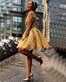 Vintage Oro Lentejuelas Vestidos de Cóctel de Encaje 2017 Moda Una Línea Corta Vestido De Festa Mujeres de Encargo 2016 Barato Prom Vestidos Del Partido
