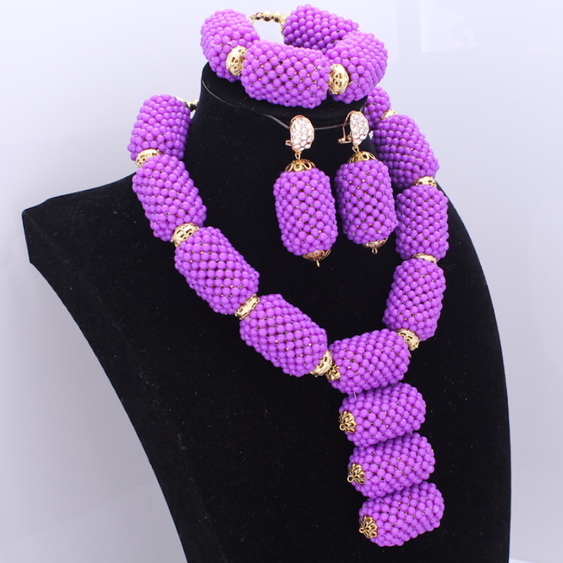 New Statement Necklace Set Purple Big Balls Design With Gold Copper Alloy Beads Bridal Set Jewelry Free Shipping 2018 Fashion nylon rope alloy statement necklace set