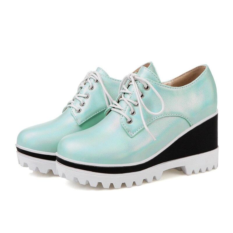 Moonmeek Classique Printemps blanc Pompes Grande Taille 32 Style Apricot Collège Lace Couleur Chaussures 2018 Automne 45 Femmes Coins Mode bleu Arrivent Up Solide Nouveau gg7rxp
