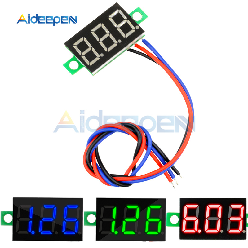 Mini <font><b>0</b></font>.36 inch <font><b>DC</b></font> <font><b>5</b></font>-30V 3 Bits Digital LED Display Panel Voltage Meter Voltmeter Tester Measure <font><b>0</b></font>-30V Red/Blue/Green Display image