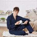Hombres Pijamas Set 100% Algodón Pijama Pijama A Cuadros de Primavera y Otoño de Los Hombres conjunto de salón de Manga Larga ropa de Dormir Amante de Trajes de Noche