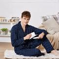 Homens Pijamas Set 100% Algodão Xadrez Pijama Pijamas de Primavera e Outono Dos Homens set lounge Manga Longa Sleepwear Amante Noite Ternos