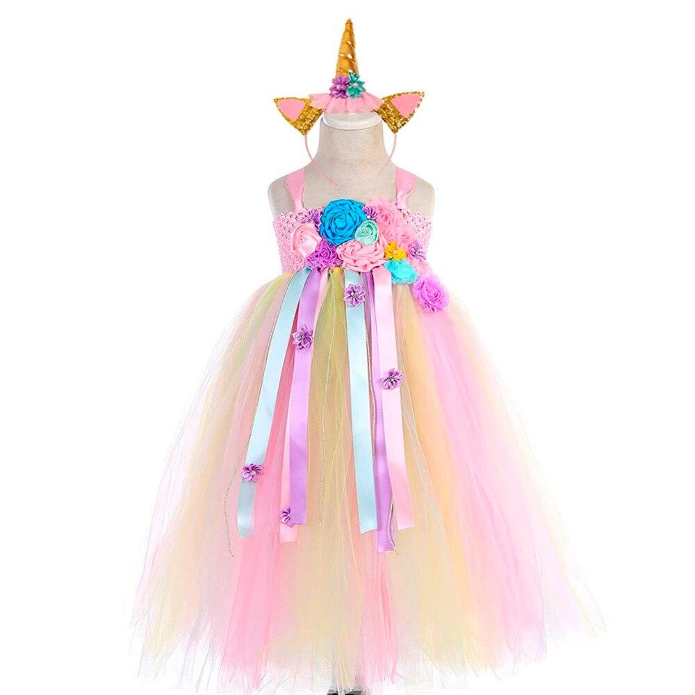 Girl Dresses Kids Long Unicorn Costume for Girls Ankle Length Sleeveless Flower Unicorn Party Dress Tutu Little Pony Ball Gown (9)