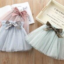 Новые Девочки бант на поясе юбки пачки для детей, Костюмы Мода для девочек, сетчатые платья с блестками и юбки для танцев Одежда для детей