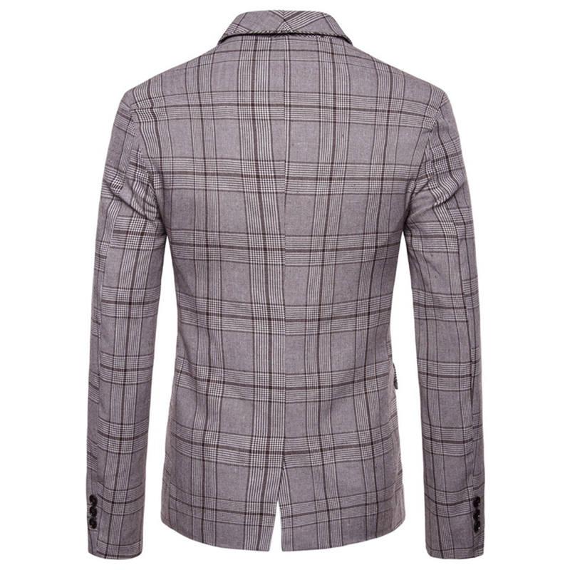 Men`s New Fashionable Checked Double-Breasted Suit Jacket Button Lattice Coat Casual Suit Jacket Men Slim Male Suit L15# (7)