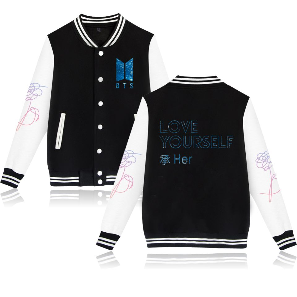 Popular Band Winter Jacket BTS DNA Jacket Women Kpop Hip Hop Popular Idol BTS Love Yourself Her Print Baseball Jacket XXS 4XL