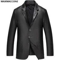 2018 Men Black Casual Leather Jacket Plus Size XXXL Genuine High Quality Sheepskin Winter Slim Fit