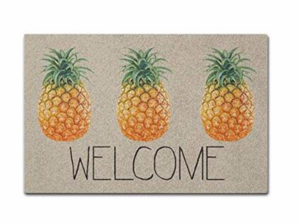 Welcome Pineapple Doormat Non Slip Machine Washable Outdoor Indoor Entrance Doormat Bathroom Kitchen Decor Rug Mat in Mat from Home Garden