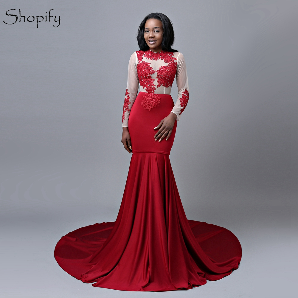 Long Sleeve Prom Dresses 2019: Long Red Prom Dress 2019 Sexy Mermaid Sheer Long Sleeve