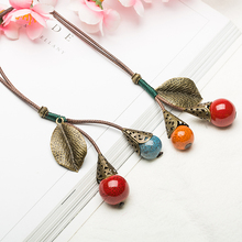 Long Leather Rope Chain Ceramic Ball Pendant Vintage Sweater Chain Necklace Choker for Women Clothing Jewelry Accessories Gift