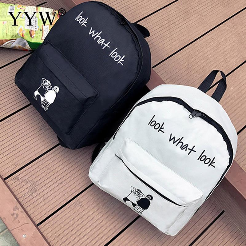 Women Children Schoolbag Black White Back Pack Korean style Waterproof School Bag ...