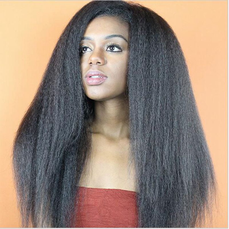 ФОТО Yaki Straight Synthetic Lace Front Wig Glueless Natural long Yaki Black 1B Heat Resistant Hair Wigs