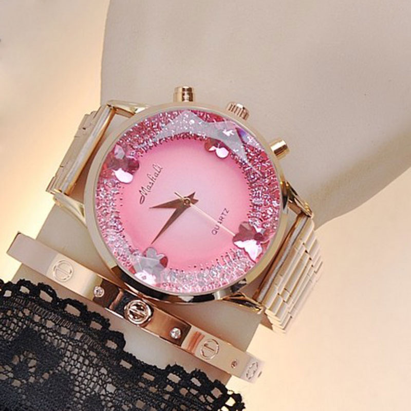 Top Quality Fashion Gold Rose Gold Stainless Steel Round Dial Quartz Wristwatches Watch Hours Clock for Women Ladies fashion women gear wheel quartz watch elegant automatic ladies stainless steel wristwatch top quality famous woman clock vintage