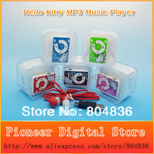 Hot Sell 10pcs/lot Cute Hello Kitty Gift MP3 Music Player Support Micro TF Card With Kitty Earphone&Mini USB&Box Free Shipping