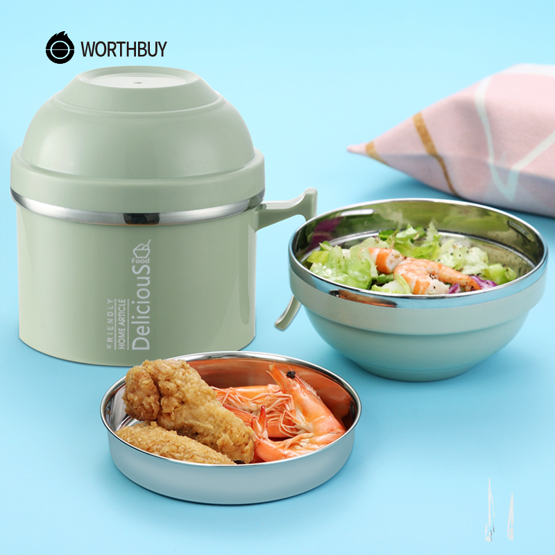WORTHBUY Creative Japanese Lunch Box For Children Food Container Kids Stainless Steel Bento Box Kitchen Instant Noodle Bowl Cup