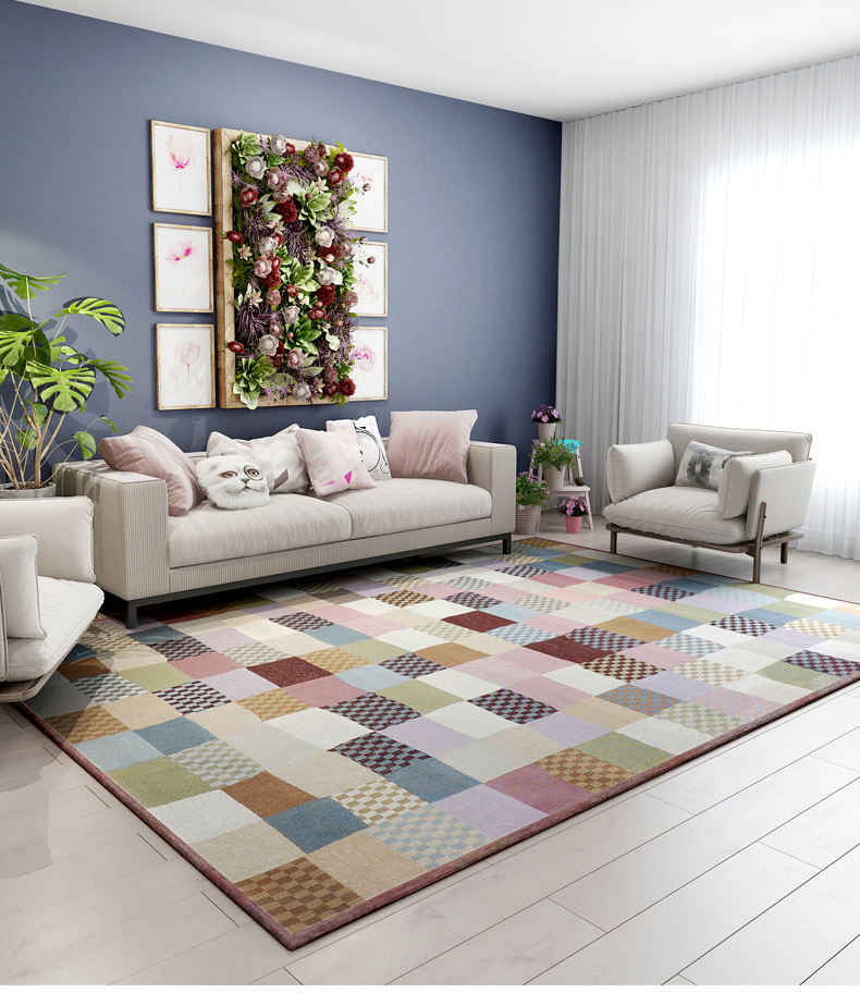 Fashion Colourful Plaid Carpet Braid Hairless Rug Sitting Room Bedroom Rectangular Geometrical Tea Table Mat Kids Room Mat