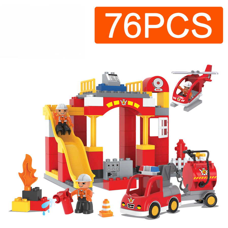 76PCS Big Blocks City Fire Station Architecture Building Blocks DIY Bricks Educational Toys For Children 10593 Compatible Duplo city architecture mini street scene view reims cathedral police headquarters library fire departmen building blocks sets toys