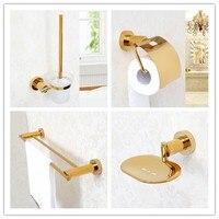 4 PCS/set gold plated brass Bathroom hardware Accessory Set Towel rack bar paper holder soap dish Toilet brush holder
