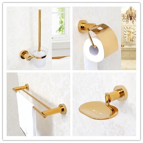 4 PCS/set gold plated brass Bathroom hardware Accessory Set Towel rack bar paper holder soap dish Toilet brush holder цена