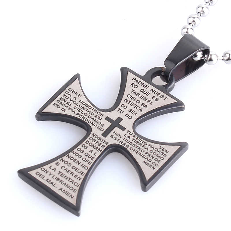free shipping Black Silver Cross Bible 316L Stainless Steel pendant necklaces bead chain for men women wholesale