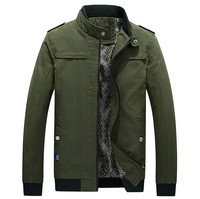 Big Size 4XL 2017 Spring jacket men 100%Cotton Stand Collar Thin Casual coats New Slim Army Green Men jackets and coats