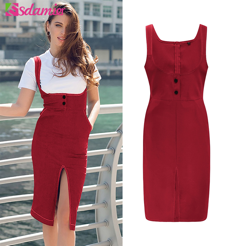 ESDAMIER High Waist Suspender Skirt Ladies Front Button Pencil Skirt  Slim Casual Sexy Split Skirts Plus Size