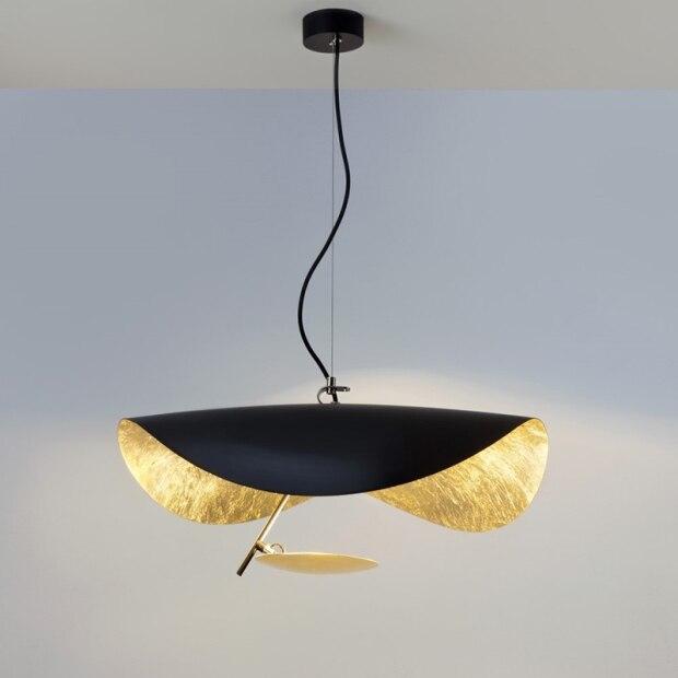 Postmodern LED chandelier lighting Nordic living room lamp bedroom Black Golden fixtures hotel lobby deco hanging